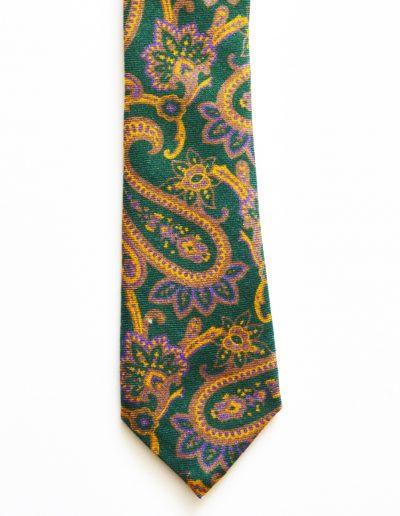 Cravata verde paisley; latime 6 cm